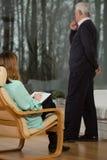 Man and psychotherapist Stock Photos