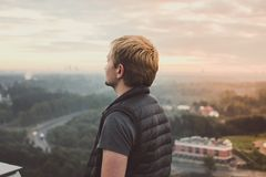 Man in Puffer Vest Royalty Free Stock Photos