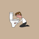 Man puking in toilet cartoon drawing Royalty Free Stock Images
