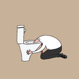Man puking in toilet cartoon drawing Stock Photo