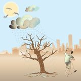 A man pull the cloud to water the nearly die tree. Royalty Free Stock Photos