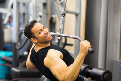 Man pull-down workout stock photos