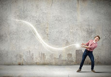 Man pull light loop Royalty Free Stock Image