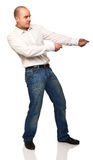 Man pull pose. Standing caucasian man in pull position isolated on white Royalty Free Stock Photos