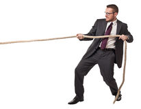 Man pull rope Stock Photo