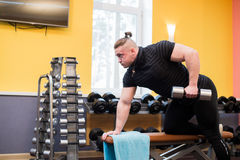 Man pull up barbell fitness training Royalty Free Stock Photography