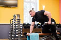 Man pull up barbell fitness training Royalty Free Stock Image