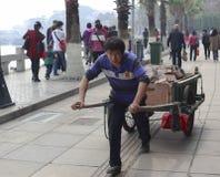 Man pulled dray in gulangyu, china Stock Photos