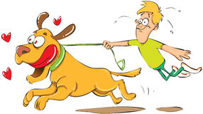 Man pulled by his dog. Cartoon illustration of a man being pulled by his dog Royalty Free Stock Images