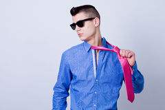 Man pulled tie Royalty Free Stock Images