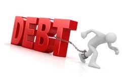 Man pulling debt text Stock Photos