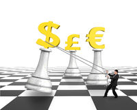 Man pulling dollar sign of money chess on chessboard Stock Image
