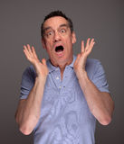 Man Pulling Face Screaming in Shock Royalty Free Stock Photos