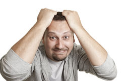 Man pulling his hair Royalty Free Stock Image