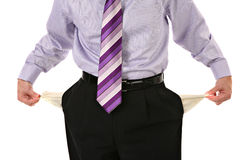 Man Pulling out Empty Pockets Isolated Royalty Free Stock Photo