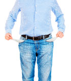 Man pulling out empty pockets Royalty Free Stock Photos
