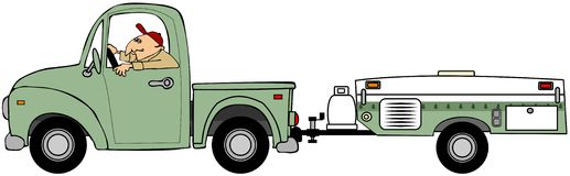 Man pulling a tent trailer. This illustration depicts a man driving an old truck and pulling a tent trailer Royalty Free Stock Image