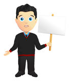 Man In A Pullover Holding A Sign. Man In A black Pullover Holding A Sign Stock Image