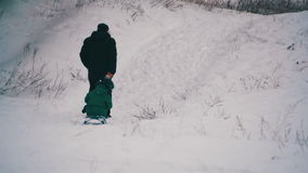 Man pulls a daughter sledding in the winter forest stock footage