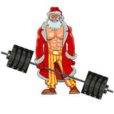 Man with pumped muscles dressed as Santa Claus stands with barbell. Cartoon man with pumped muscles dressed as Santa Claus stands with barbell Stock Photos