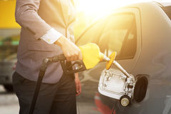 Man pumping fuel Stock Photo