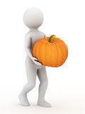 The man with pumpkin, 3d rendering Royalty Free Stock Photo