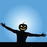 Man with pumpkin head vector silhouette. Illustration Stock Photos
