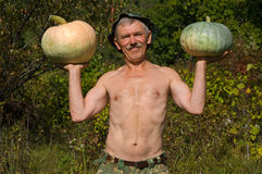 Man with pumpkins 6 Royalty Free Stock Photos
