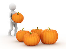 The man with pumpkins, 3d rendering Stock Photography