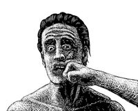 Man punched sketch. EPS8 editable vector sketch of a man being punched in the face Royalty Free Stock Photo