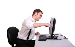 Man Punching Monitor Royalty Free Stock Photos