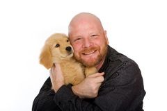 Man and Puppy Royalty Free Stock Images