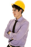Man in purple dress shirt and hard hat arms folded Royalty Free Stock Images