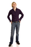 Man in Purple Shirt Stock Images