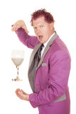 Man purple suit drink between hand look Royalty Free Stock Image