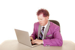 Man purple suit and hair laptop serious Stock Photography