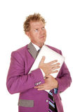 Man purple suit hold laptop look up Royalty Free Stock Photos