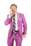 Man purple suit yell Royalty Free Stock Photos