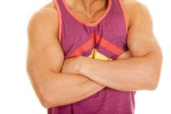 Man purple tank top arms folded body close Stock Photography