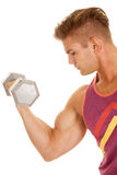 Man purple tank top curl big weight face left Royalty Free Stock Image