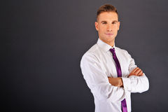 Man with purple tie Stock Images