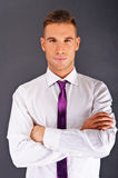 Man with purple tie Stock Image