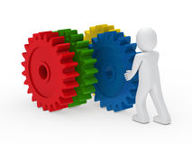 Man push colorful gear. 3d man push four colorful gear circle Stock Photography