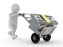 Man push hand truck with dollars. Isolated 3D. Image Stock Photos