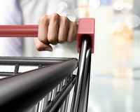 Man push shopping cart close-up front view Royalty Free Stock Images
