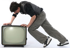 Man push TV away concept royalty free stock photo