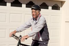 Man on  Pushbike. A Baby Boomer Male on his Pushbike Stock Images