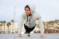 Man pushed from the floor in the morning workout Royalty Free Stock Photo