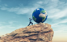 Man pushing a big earth globe. To the top of the mountain.  Success concept. This is a 3d render illustration Royalty Free Stock Photos