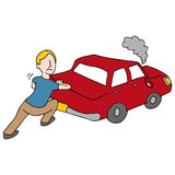 Man Pushing Broken Down Car. An image of a Man Pushing Broken Down Car Royalty Free Stock Photography